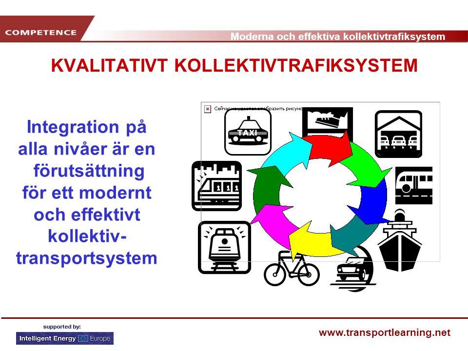 Moderna och effektiva kollektivtrafiksystem www.transportlearning.net KVALITATIVT KOLLEKTIVTRAFIKSYSTEM Integration på alla nivåer är en förutsättning
