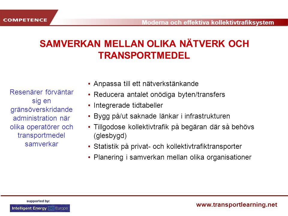 Moderna och effektiva kollektivtrafiksystem www.transportlearning.net SAMVERKAN MELLAN OLIKA NÄTVERK OCH TRANSPORTMEDEL Anpassa till ett nätverkstänka
