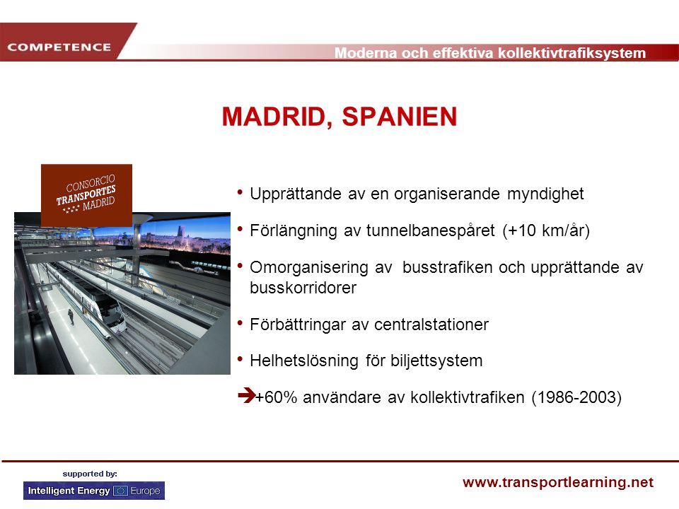 Moderna och effektiva kollektivtrafiksystem www.transportlearning.net MADRID, SPANIEN Upprättande av en organiserande myndighet Förlängning av tunnelb
