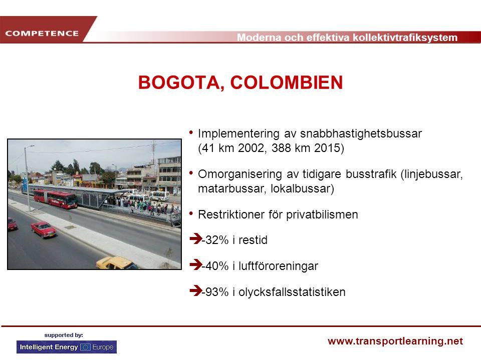 Moderna och effektiva kollektivtrafiksystem www.transportlearning.net BOGOTA, COLOMBIEN Implementering av snabbhastighetsbussar (41 km 2002, 388 km 20