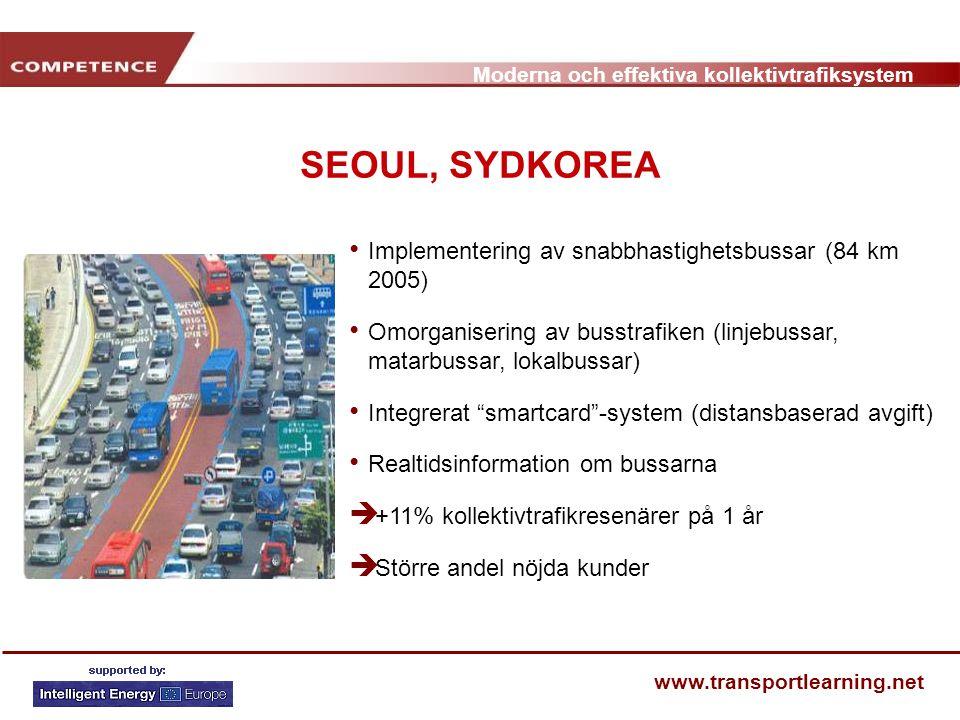 Moderna och effektiva kollektivtrafiksystem www.transportlearning.net SEOUL, SYDKOREA Implementering av snabbhastighetsbussar (84 km 2005) Omorganiser