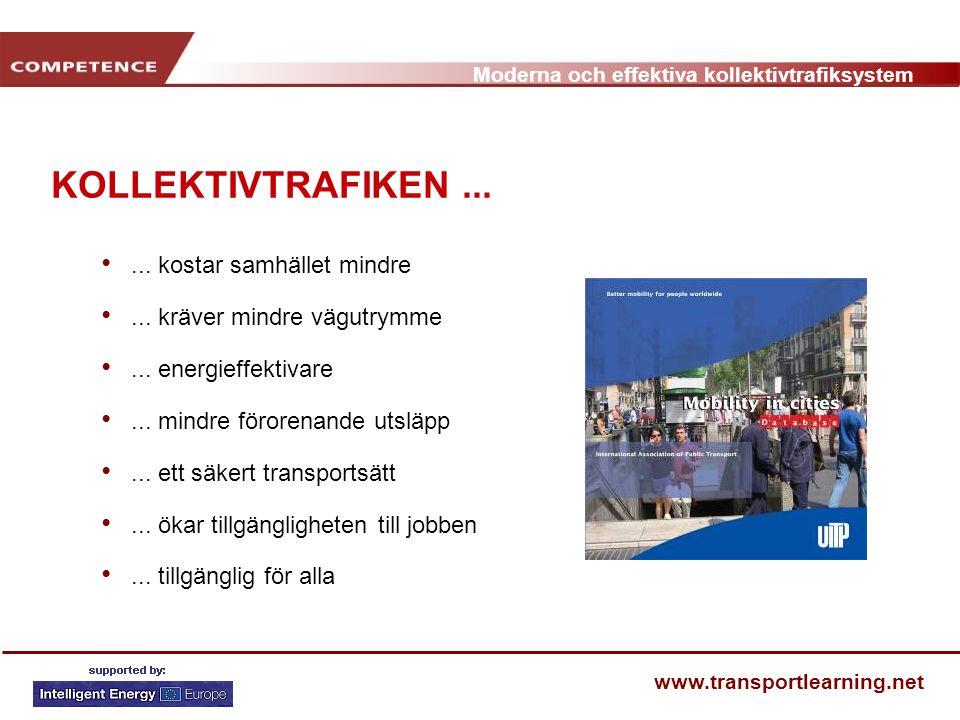 Moderna och effektiva kollektivtrafiksystem www.transportlearning.net KOLLEKTIVTRAFIKEN...... kostar samhället mindre... kräver mindre vägutrymme... e