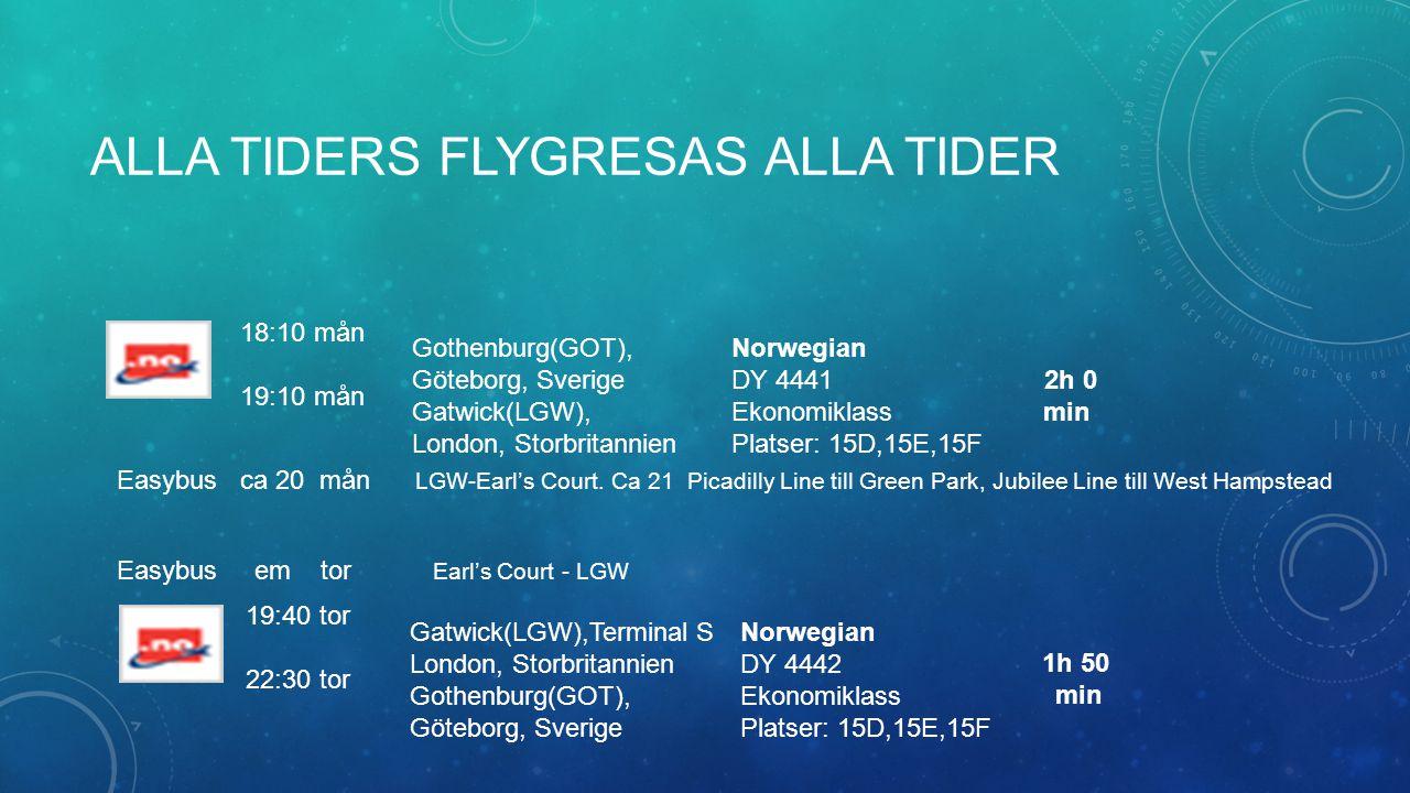 ALLA TIDERS FLYGRESAS ALLA TIDER 18:10 mån 19:10 mån Gothenburg(GOT), Göteborg, Sverige Gatwick(LGW), London, Storbritannien Norwegian DY 4441 Ekonomi