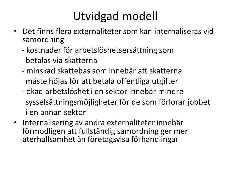 Utvidgad modell Det finns flera externaliteter som kan internaliseras vid samordning - kostnader för arbetslöshetsersättning som betalas via skatterna
