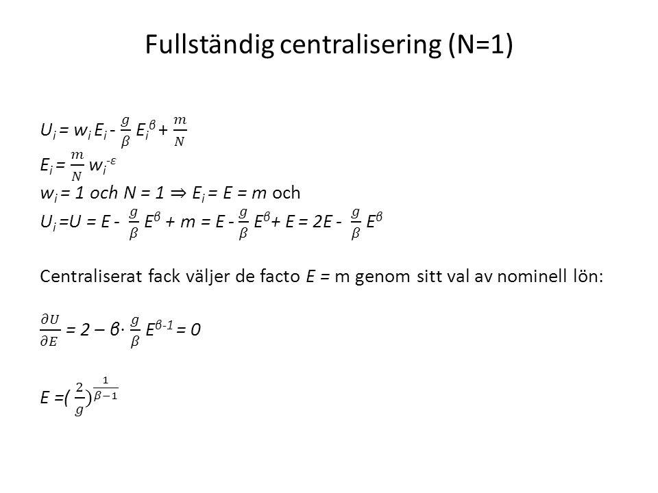 Fullständig centralisering (N=1)
