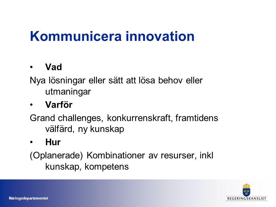 Näringsdepartementet Kommunicera innovation Vad Nya lösningar eller sätt att lösa behov eller utmaningar Varför Grand challenges, konkurrenskraft, framtidens välfärd, ny kunskap Hur (Oplanerade) Kombinationer av resurser, inkl kunskap, kompetens