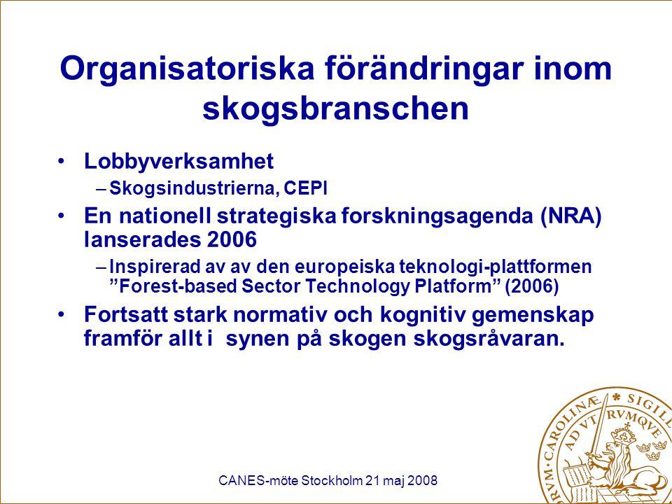CANES-möte Stockholm 21 maj 2008 Organisatoriska förändringar inom skogsbranschen Lobbyverksamhet –Skogsindustrierna, CEPI En nationell strategiska fo