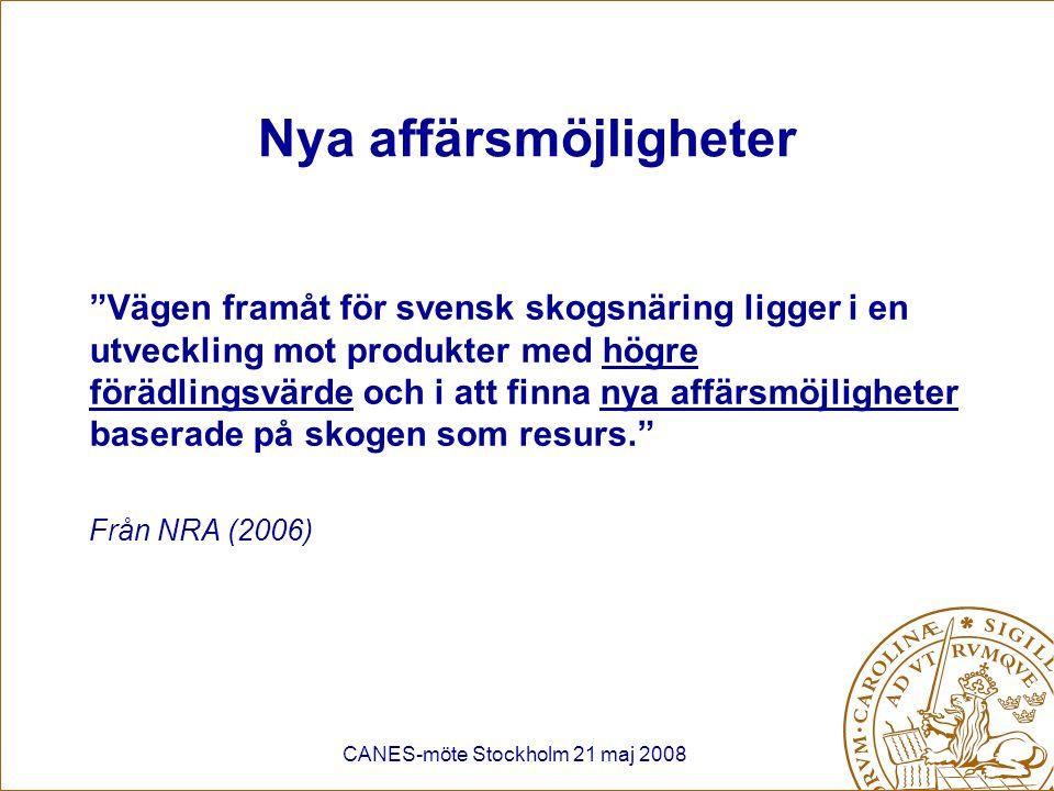 """CANES-möte Stockholm 21 maj 2008 Nya affärsmöjligheter """"Vägen framåt för svensk skogsnäring ligger i en utveckling mot produkter med högre förädlingsv"""