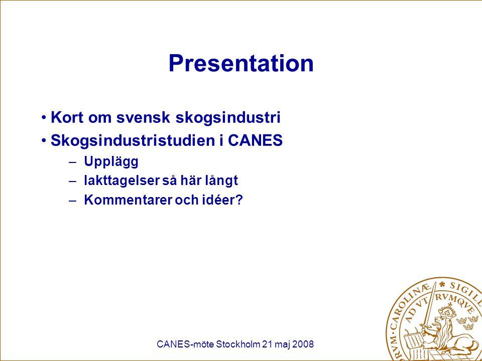 CANES-möte Stockholm 21 maj 2008 Externa drivkrafter Ökad konkurrens från tillväxtmarknader (varierar mellan produktsegment) –Massaproduktion i Sydamerika –Pappersproduktion i Kina Dollarkurs Ryska exporttullar på virke (€10/m3 (2006) => €50/m3 (2009) Konjunkturcykler (tidningspapper och emballage) Miljökrav från kunder –Certifiering av skog (FSC, PEFC) –Utveckling av carbon footprint för pappersprodukter