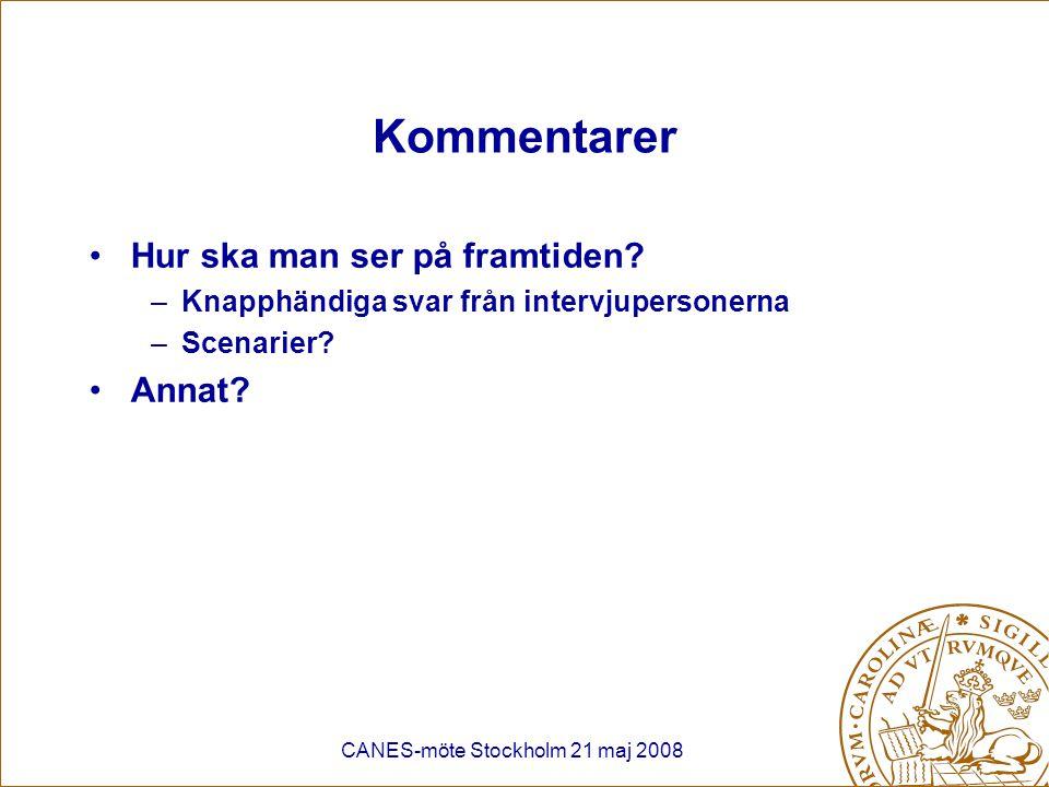 CANES-möte Stockholm 21 maj 2008 Kommentarer Hur ska man ser på framtiden? –Knapphändiga svar från intervjupersonerna –Scenarier? Annat?