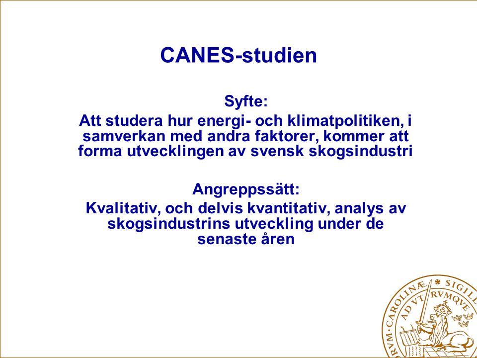 CANES-möte Stockholm 21 maj 2008 Empiriskt material Semistrukturerade intervjuer Gjorda intervjuer: –Leif Westin (Vattenfall, elsäljare) –Gunnar Modig (IMES, Norske Veritas) –Mikael Hannus (Energidirektör Stora Enso) –Marianne Svensen och Lars-Erik Axelsson (Skogsindustrierna) –…..