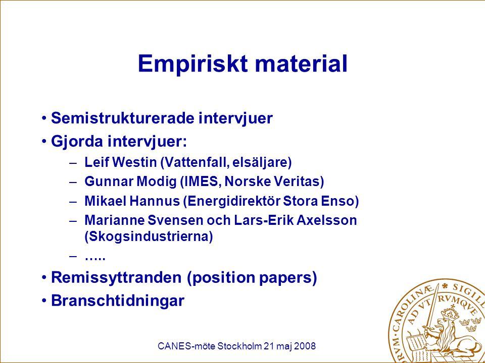CANES-möte Stockholm 21 maj 2008 Nya affärsmöjligheter - Energi Ökad mottryckproduktion –Södra (exporterar 300 GWh el per år) Ökad export av spillvärme som fjärrvärme Skogen - strategisk resurs för vindkraft –VindIn (2006) –SCA+Statkraft planerar 7 vindkraftsparker (2,8 TWh) –Södra (3*2 MW 2009, därefter ytterligare 20 st) Småskalig vattenkraft Ökad biobränsleförsäljning –Ökat uttag av avverkningsrester –Energieffektivisering (Södra)