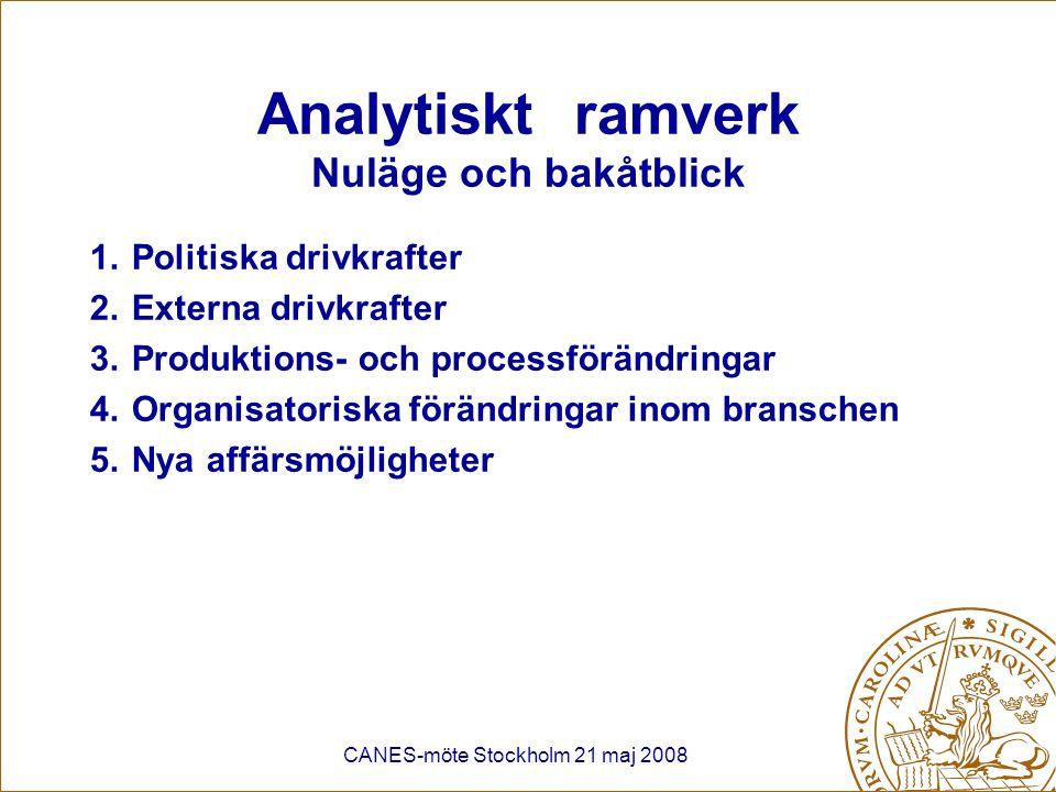 CANES-möte Stockholm 21 maj 2008 Politiska drivkrafter: Energi- och klimatpolitik Hot: Ökade energikostnader –Direkt: ETS –Indirekt: Högre elpris (ETS) Ökad betalningsvilja för biobränslen => högre råvarukostnad Möjligheter: Styrka: Produkter (i synnerhet trävaror) baseras på förnybar råvara och små CO2-utsläpp vid produktion.