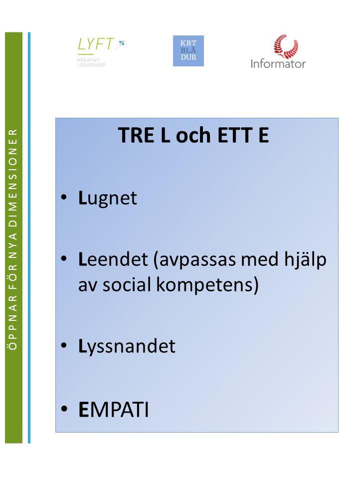 TRE L och ETT E Lugnet Leendet (avpassas med hjälp av social kompetens) Lyssnandet EMPATI