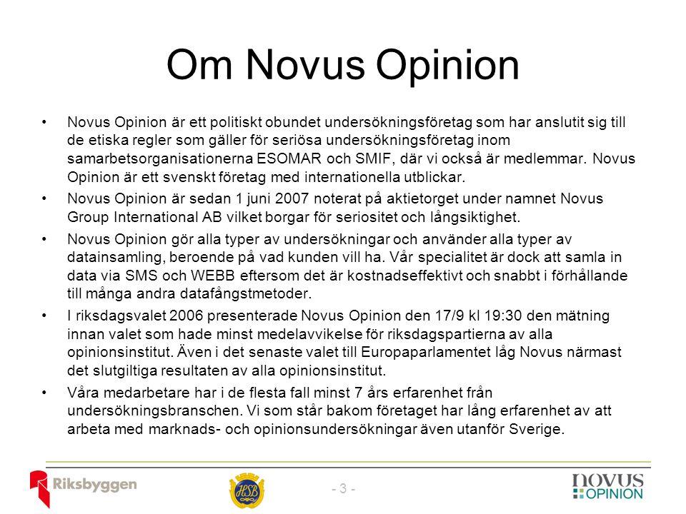 Om Novus Opinion Novus Opinion är ett politiskt obundet undersökningsföretag som har anslutit sig till de etiska regler som gäller för seriösa undersökningsföretag inom samarbetsorganisationerna ESOMAR och SMIF, där vi också är medlemmar.