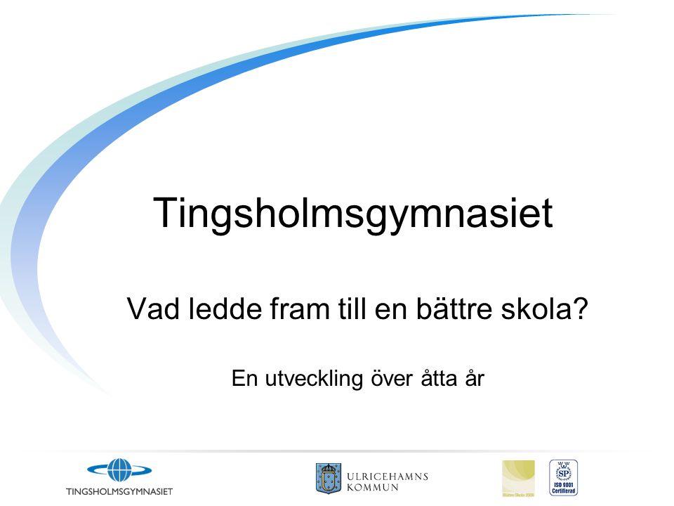 Tingsholmsgymnasiet Vad ledde fram till en bättre skola En utveckling över åtta år