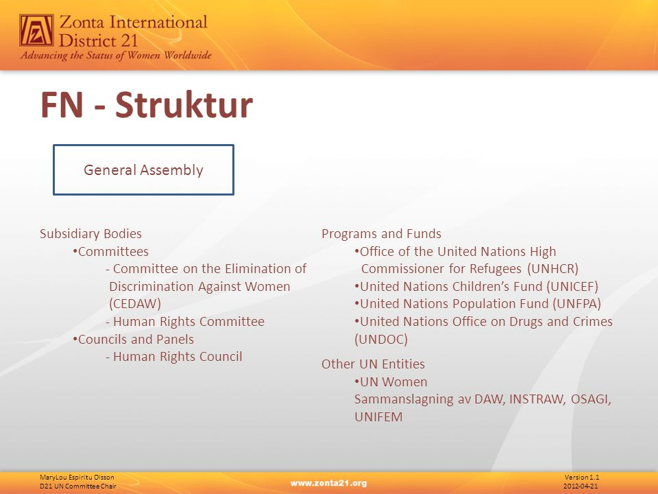 MaryLou Espiritu Olsson Version 1.1 D21 UN Committee Chair 2012-04-21 FN - Struktur General Assembly Subsidiary Bodies Committees - Committee on the E