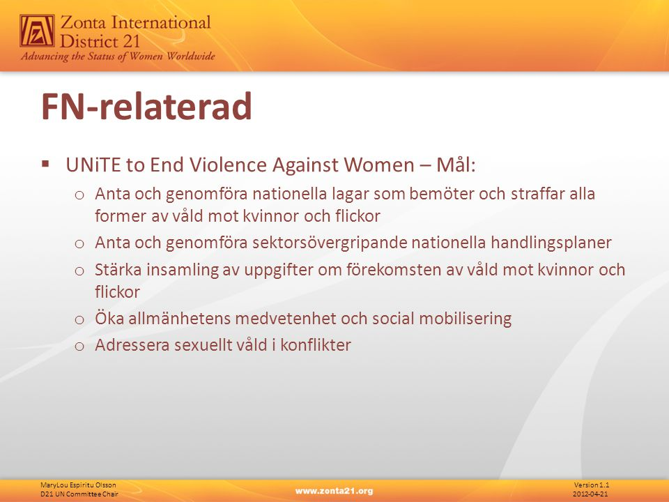MaryLou Espiritu Olsson Version 1.1 D21 UN Committee Chair 2012-04-21 FN-relaterad  UNiTE to End Violence Against Women – Mål: o Anta och genomföra n