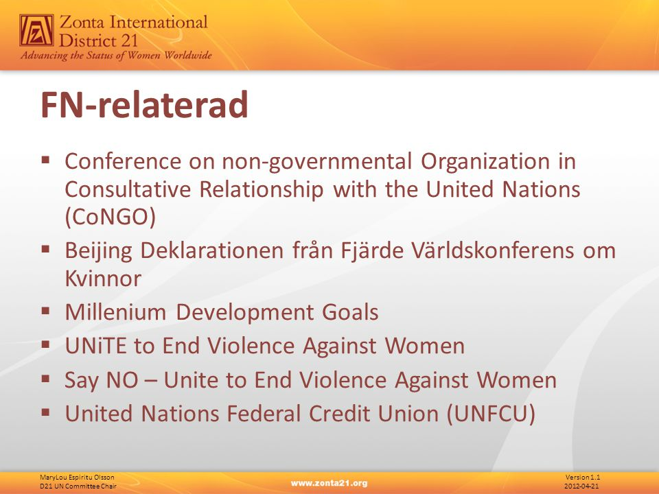 MaryLou Espiritu Olsson Version 1.1 D21 UN Committee Chair 2012-04-21 FN-relaterad  Conference on non-governmental Organization in Consultative Relat