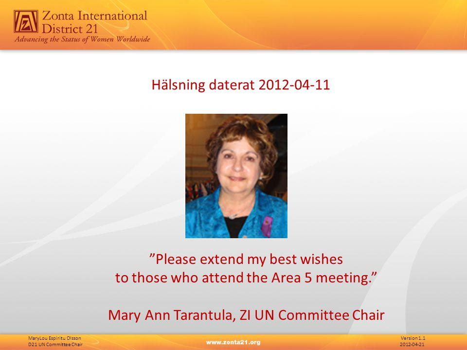 MaryLou Espiritu Olsson Version 1.1 D21 UN Committee Chair 2012-04-21 FN - Struktur Department of Public Information Secretariat