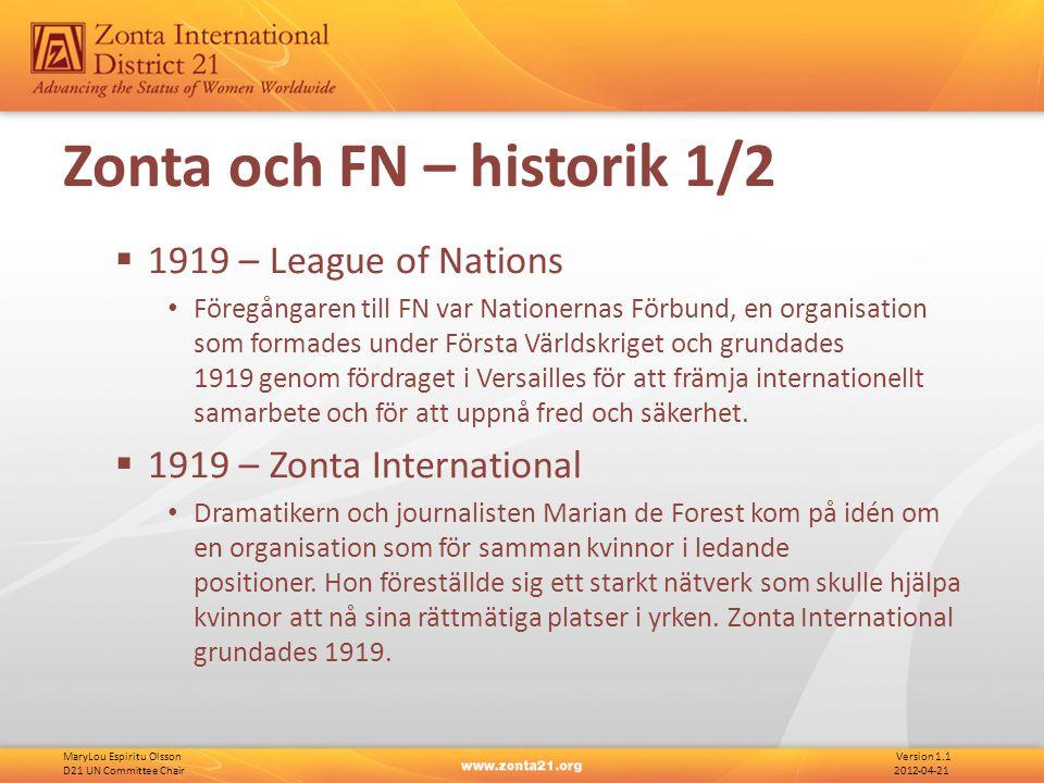 MaryLou Espiritu Olsson Version 1.1 D21 UN Committee Chair 2012-04-21 FN - Struktur International Labour Organization (ILO) United Nations Educational, Scientific and Cultural Organization (UNESCO) Specialized Agencies
