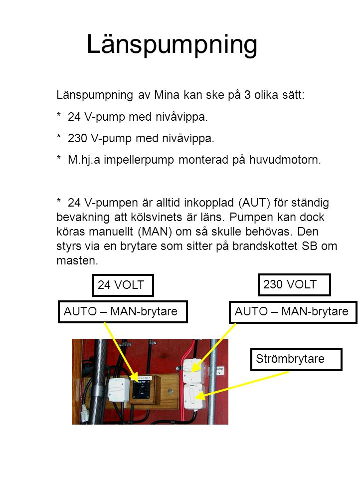 Länspumpning Länspumpning av Mina kan ske på 3 olika sätt: * 24 V-pump med nivåvippa.