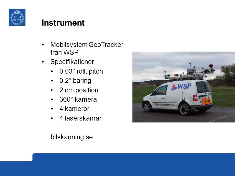 Instrument Mobilsystem GeoTracker från WSP Specifikationer 0.03° roll, pitch 0.2° bäring 2 cm position 360° kamera 4 kameror 4 laserskanrar bilskanning.se
