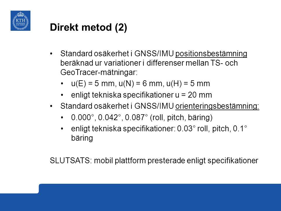 Direkt metod (2) Standard osäkerhet i GNSS/IMU positionsbestämning beräknad ur variationer i differenser mellan TS- och GeoTracer-mätningar: u(E) = 5 mm, u(N) = 6 mm, u(H) = 5 mm enligt tekniska specifikationer u = 20 mm Standard osäkerhet i GNSS/IMU orienteringsbestämning: 0.000°, 0.042°, 0.087° (roll, pitch, bäring) enligt tekniska specifikationer: 0.03° roll, pitch, 0.1° bäring SLUTSATS: mobil plattform presterade enligt specifikationer