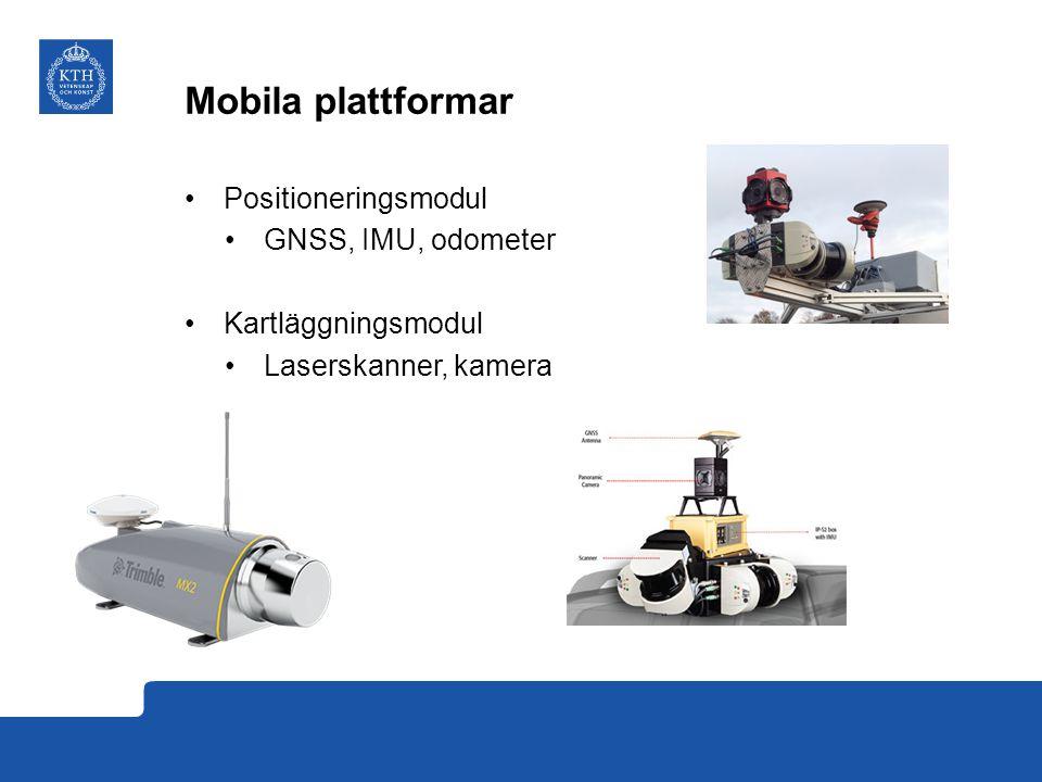 Mobila plattformar Positioneringsmodul GNSS, IMU, odometer Kartläggningsmodul Laserskanner, kamera