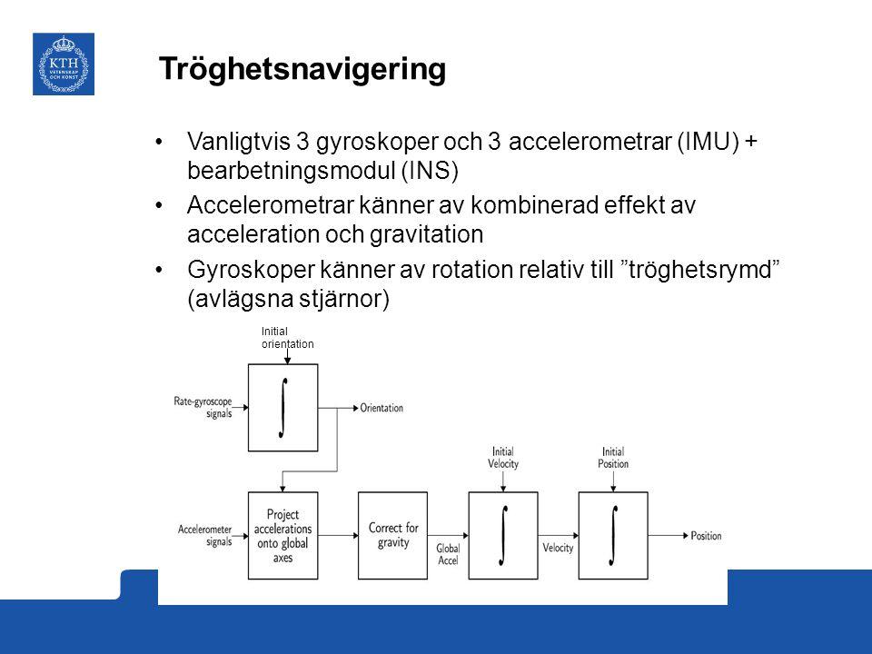 Tröghetsnavigering Vanligtvis 3 gyroskoper och 3 accelerometrar (IMU) + bearbetningsmodul (INS) Accelerometrar känner av kombinerad effekt av acceleration och gravitation Gyroskoper känner av rotation relativ till tröghetsrymd (avlägsna stjärnor) Initial orientation