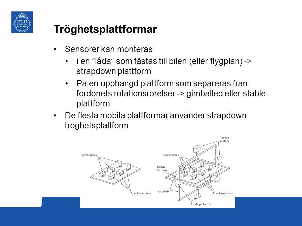 Tröghetsplattformar Sensorer kan monteras i en låda som fästas till bilen (eller flygplan) -> strapdown plattform På en upphängd plattform som separeras från fordonets rotationsrörelser -> gimballed eller stable plattform De flesta mobila plattformar använder strapdown tröghetsplattform
