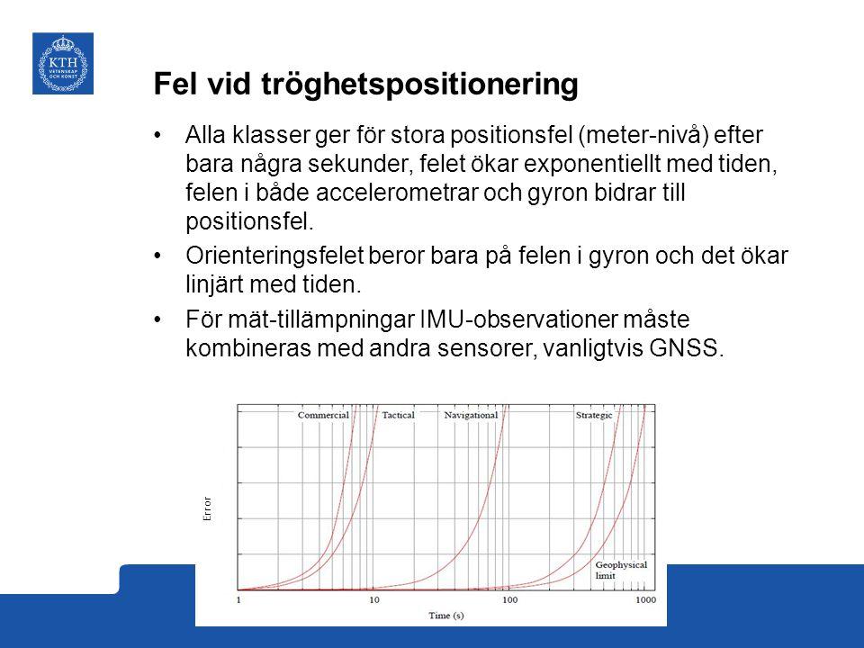 Fel vid tröghetspositionering Alla klasser ger för stora positionsfel (meter-nivå) efter bara några sekunder, felet ökar exponentiellt med tiden, felen i både accelerometrar och gyron bidrar till positionsfel.