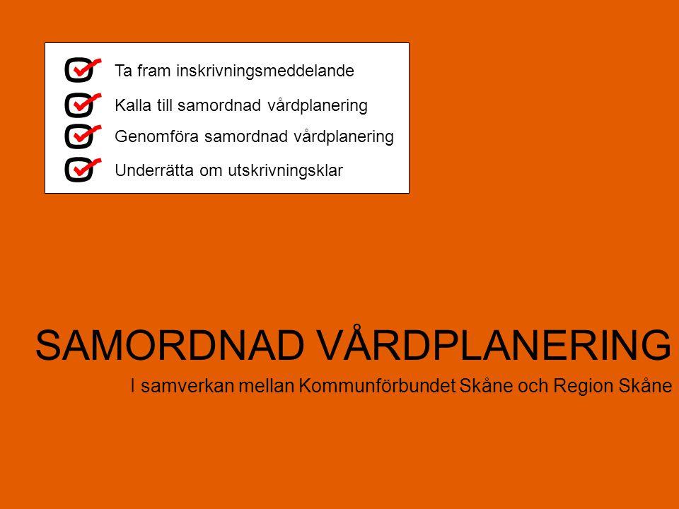 SAMORDNAD VÅRDPLANERING I samverkan mellan Kommunförbundet Skåne och Region Skåne Ta fram inskrivningsmeddelande Kalla till samordnad vårdplanering Ge