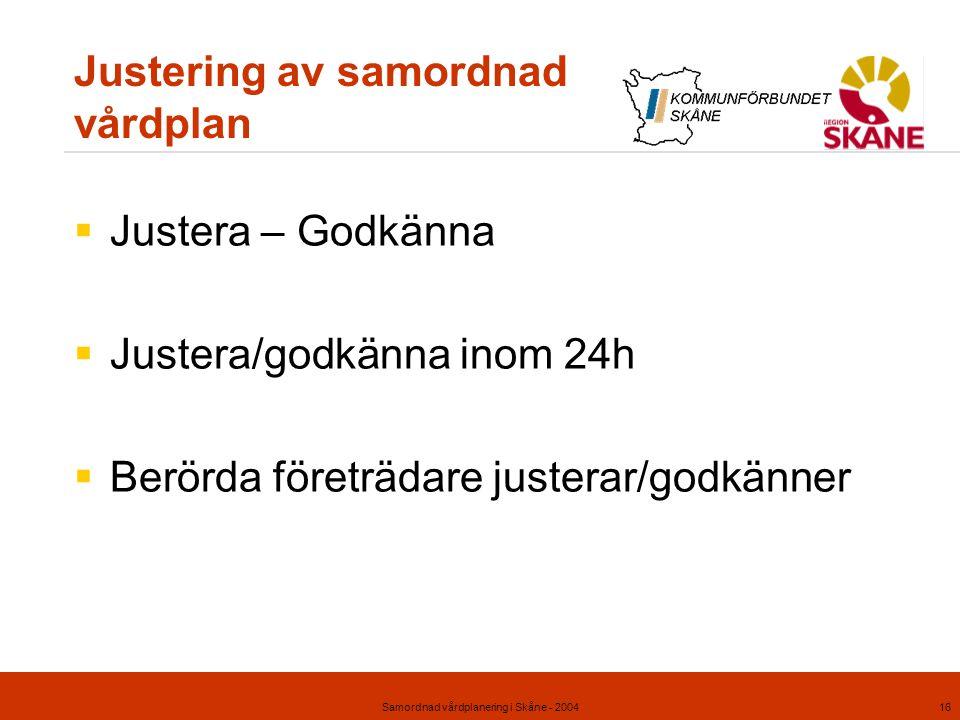 Samordnad vårdplanering i Skåne - 200416 Justering av samordnad vårdplan  Justera – Godkänna  Justera/godkänna inom 24h  Berörda företrädare juster