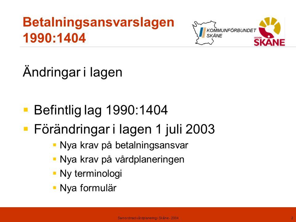 Samordnad vårdplanering i Skåne - 20042 Betalningsansvarslagen 1990:1404 Ändringar i lagen  Befintlig lag 1990:1404  Förändringar i lagen 1 juli 200