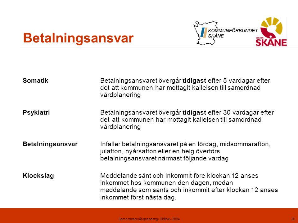 Samordnad vårdplanering i Skåne - 200420 Betalningsansvar SomatikBetalningsansvaret övergår tidigast efter 5 vardagar efter det att kommunen har motta