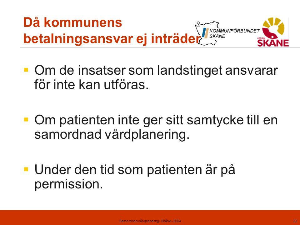 Samordnad vårdplanering i Skåne - 200422 Då kommunens betalningsansvar ej inträder  Om de insatser som landstinget ansvarar för inte kan utföras.  O