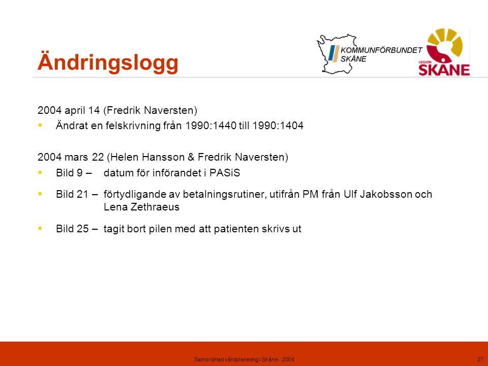 Samordnad vårdplanering i Skåne - 200427 Ändringslogg 2004 april 14 (Fredrik Naversten)  Ändrat en felskrivning från 1990:1440 till 1990:1404 2004 ma