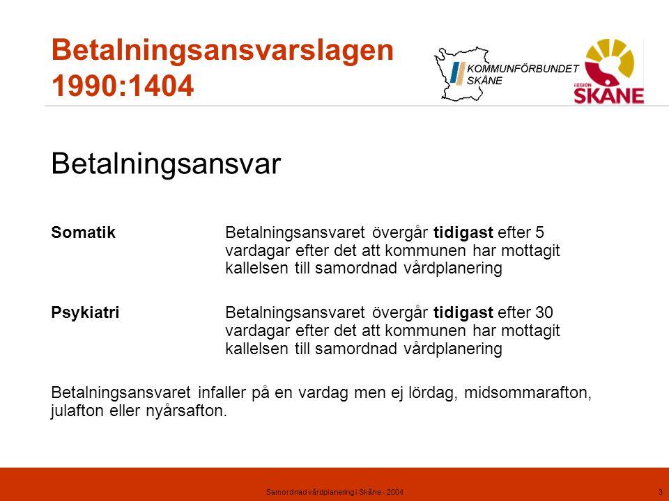 Samordnad vårdplanering i Skåne - 20043 Betalningsansvarslagen 1990:1404 Betalningsansvar SomatikBetalningsansvaret övergår tidigast efter 5 vardagar