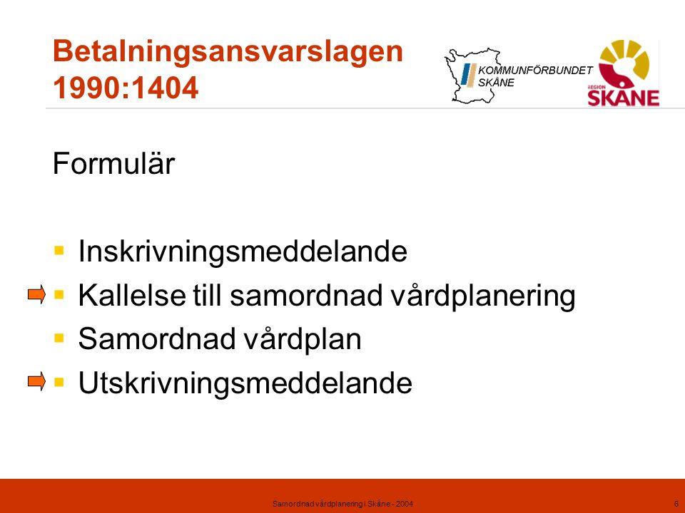 Samordnad vårdplanering i Skåne - 20046 Betalningsansvarslagen 1990:1404 Formulär  Inskrivningsmeddelande  Kallelse till samordnad vårdplanering  S