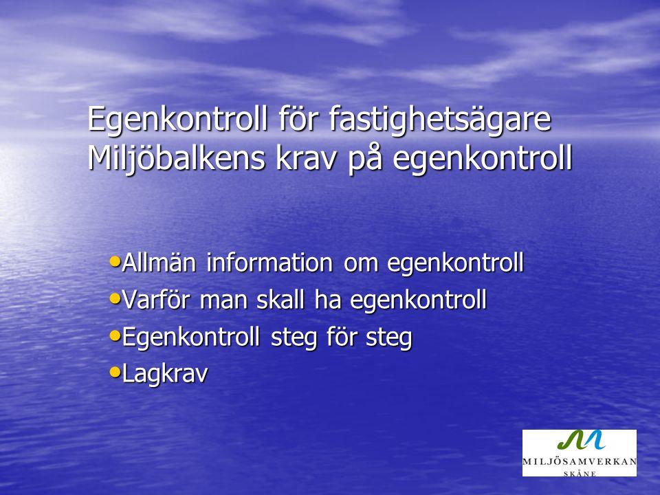 Inför egenkontroll hos fastighetsägarna nu! Stockholm kommit igång Malmö kommit igång