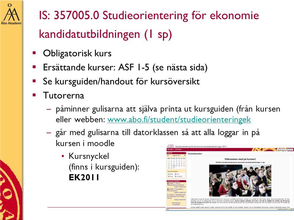 IS: 357005.0 Studieorientering för ekonomie kandidatutbildningen (1 sp)  Obligatorisk kurs  Ersättande kurser: ASF 1-5 (se nästa sida)  Se kursguid