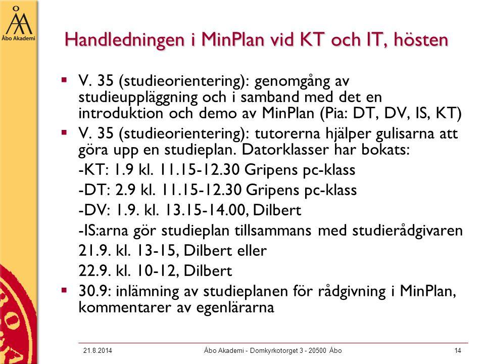 21.8.2014Åbo Akademi - Domkyrkotorget 3 - 20500 Åbo14 Handledningen i MinPlan vid KT och IT, hösten  V. 35 (studieorientering): genomgång av studieup