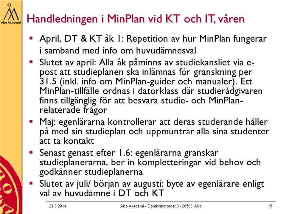 21.8.2014Åbo Akademi - Domkyrkotorget 3 - 20500 Åbo15  April, DT & KT åk 1: Repetition av hur MinPlan fungerar i samband med info om huvudämnesval 