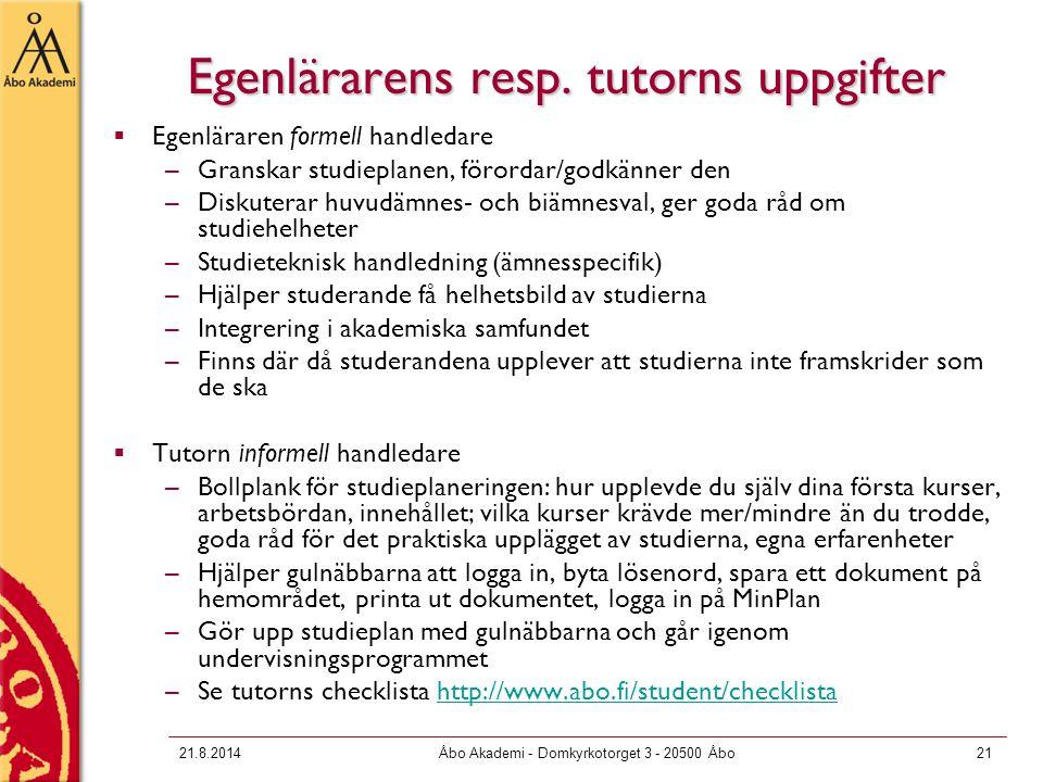 21.8.2014Åbo Akademi - Domkyrkotorget 3 - 20500 Åbo21 Egenlärarens resp.