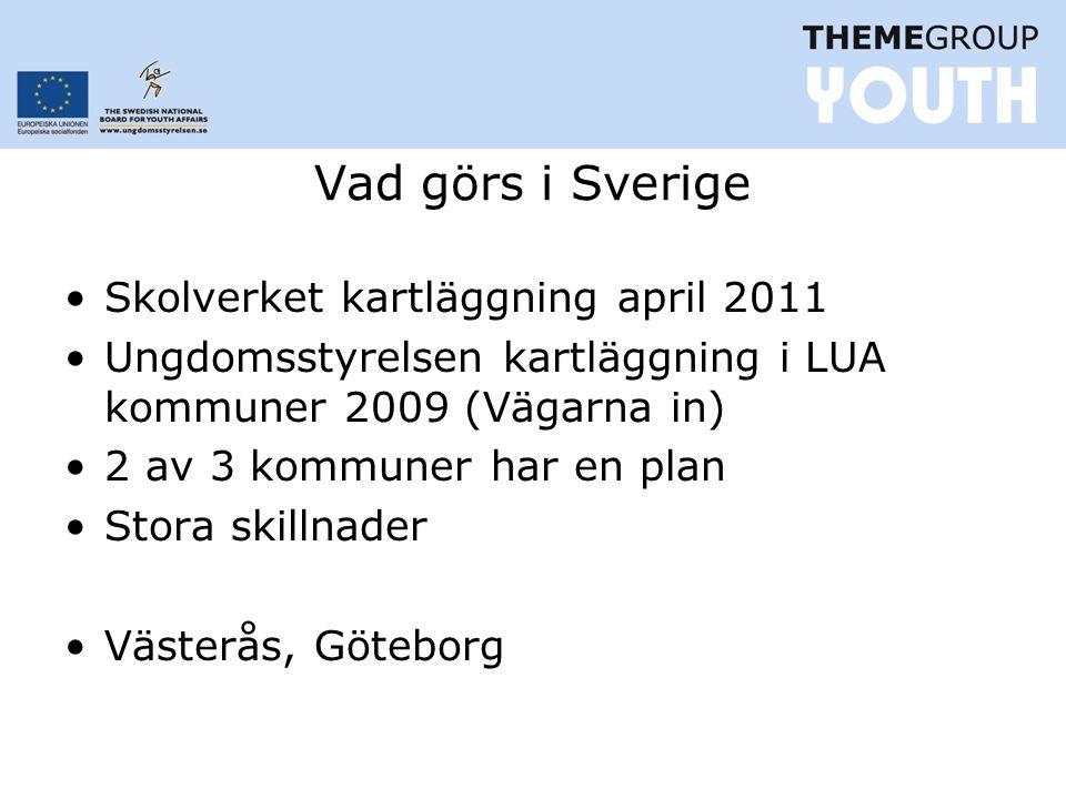 Vad görs i Sverige Skolverket kartläggning april 2011 Ungdomsstyrelsen kartläggning i LUA kommuner 2009 (Vägarna in) 2 av 3 kommuner har en plan Stora skillnader Västerås, Göteborg