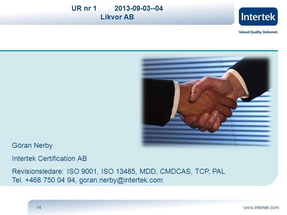 UR nr 12013-09-03--04 Likvor AB www.intertek.com14 Göran Nerby Intertek Certification AB Revisionsledare: ISO 9001, ISO 13485, MDD, CMDCAS, TCP, PAL T
