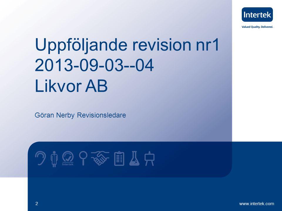 UR nr 12013-09-03--04 Likvor AB www.intertek.com13 Nästa Revision Datum för nästa revision är bestämd till 2014-09-01--02