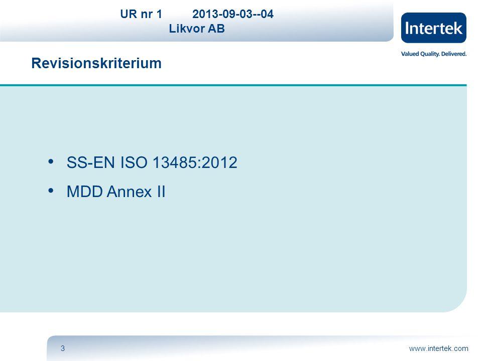 UR nr 12013-09-03--04 Likvor AB www.intertek.com14 Göran Nerby Intertek Certification AB Revisionsledare: ISO 9001, ISO 13485, MDD, CMDCAS, TCP, PAL Tel.