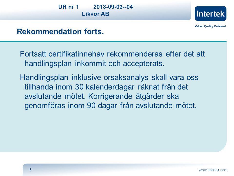 UR nr 12013-09-03--04 Likvor AB www.intertek.com6 Fortsatt certifikatinnehav rekommenderas efter det att handlingsplan inkommit och accepterats. Handl